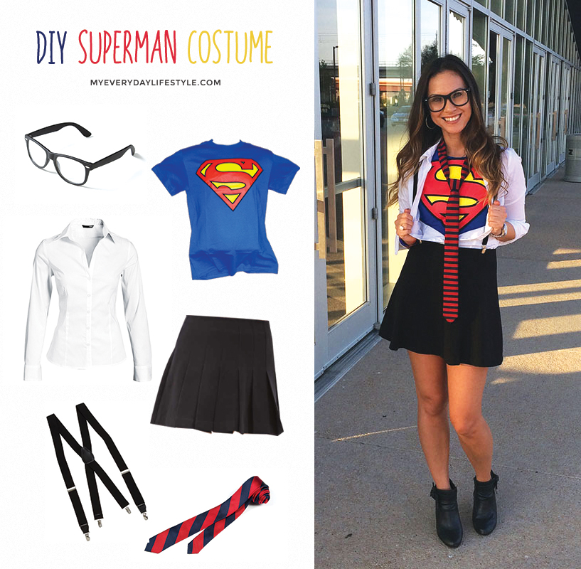 Diy superman costume mel dallas lifestyle design and for Easy diy women s halloween costumes