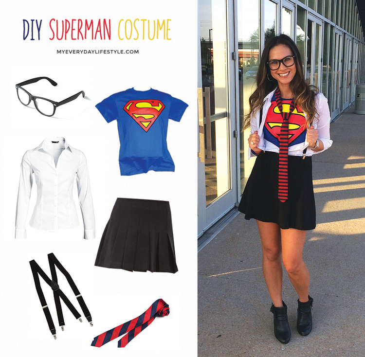 Diy superman costume mel dallas lifestyle design and fashion in need of a costume idea ladies here is a quick super cute diy costume for those on a budget solutioingenieria Gallery