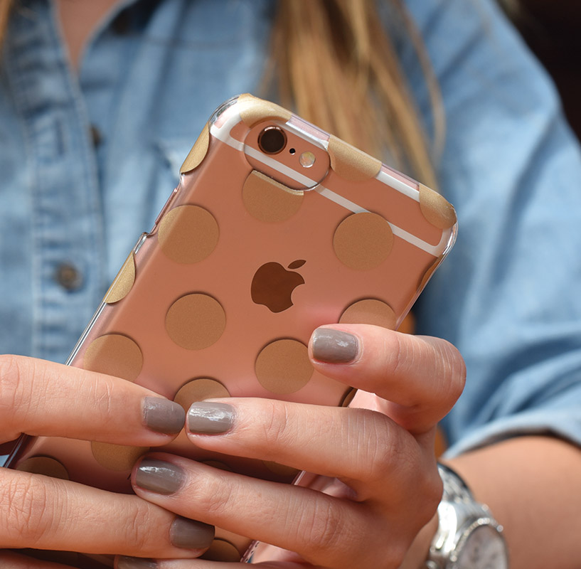 A cute see through iPhone Polka Dot Case find from Target. Photo Credit @apearlkindofgirl