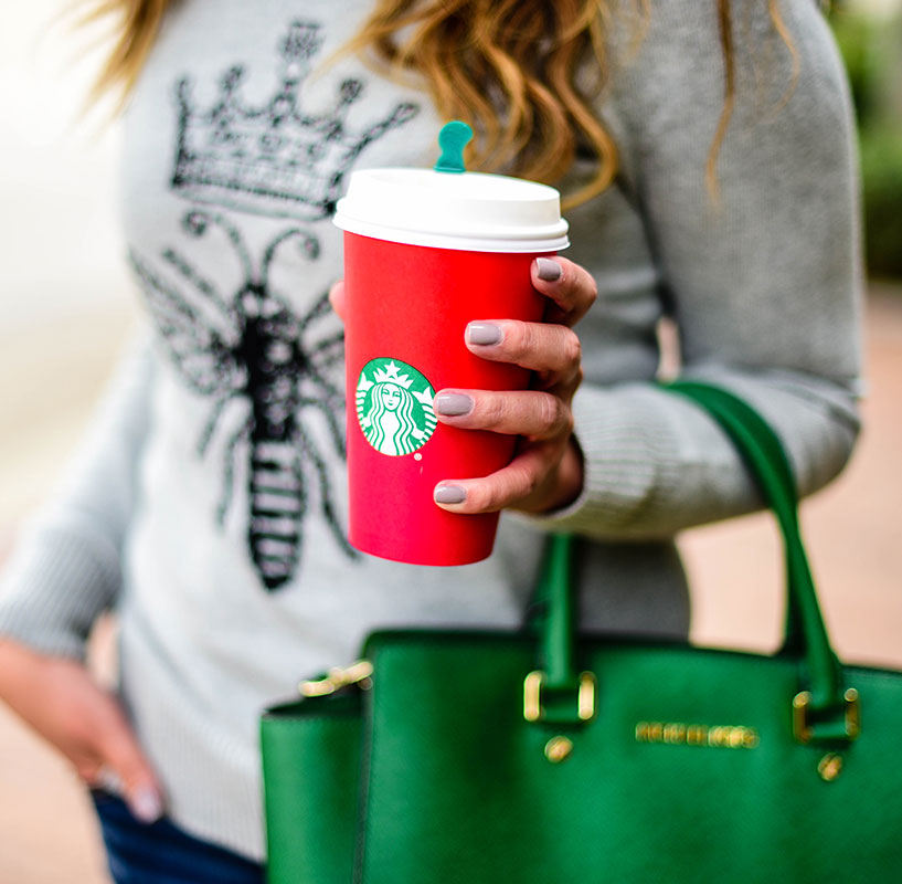I love red cup season at Starbucks. Photo Credit: Jeff Zepeda