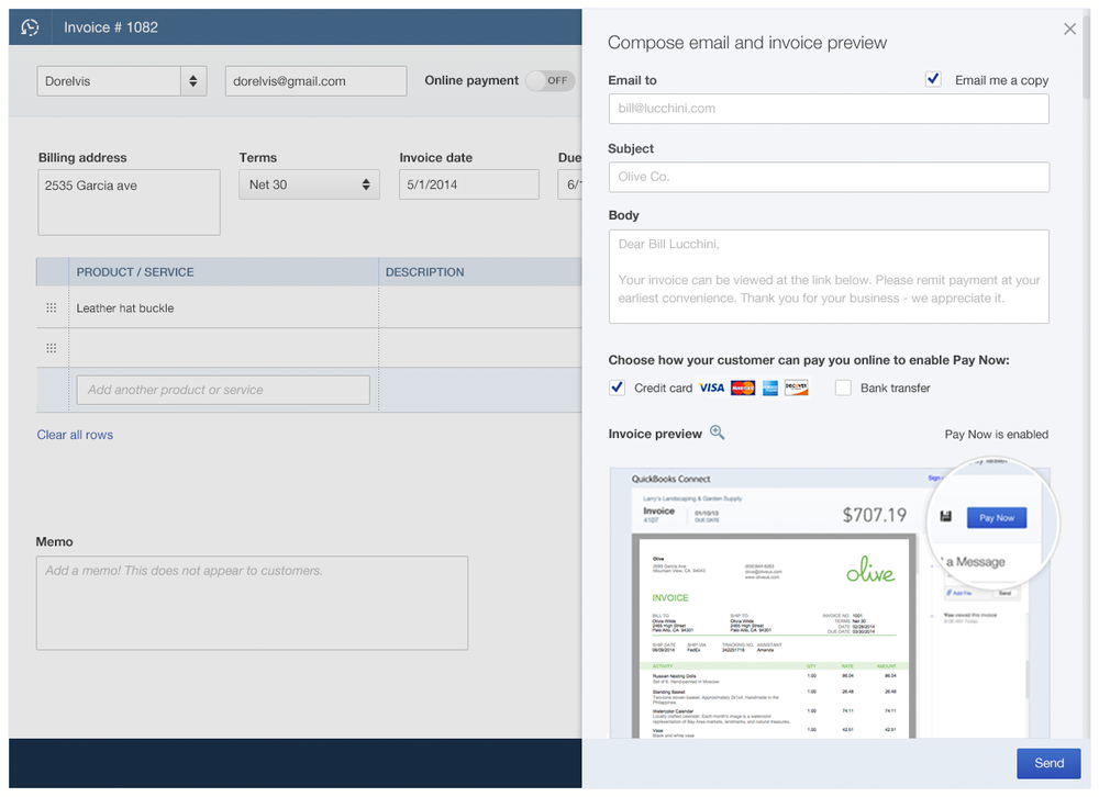 QBO Invoice Preview Monica Girel - Quickbooks invoice email message