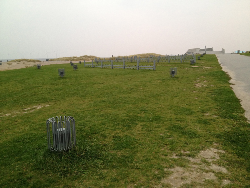 Bike racks that resemble the D-Day coastal defence