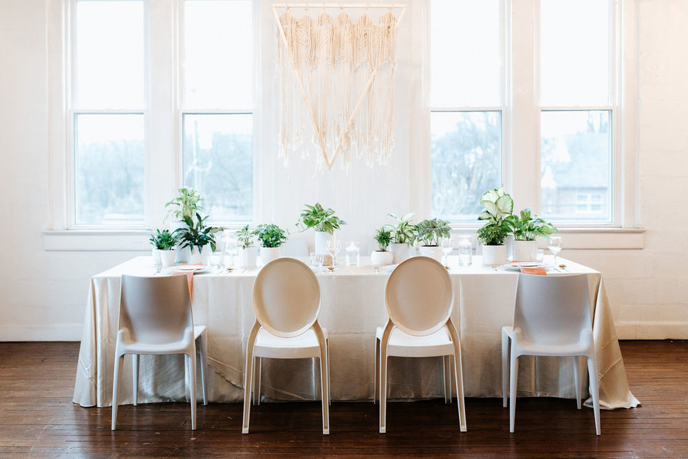 Modern Boho Wedding Reception designed by Lindsy Read of Music City Events. Nashville, TN.