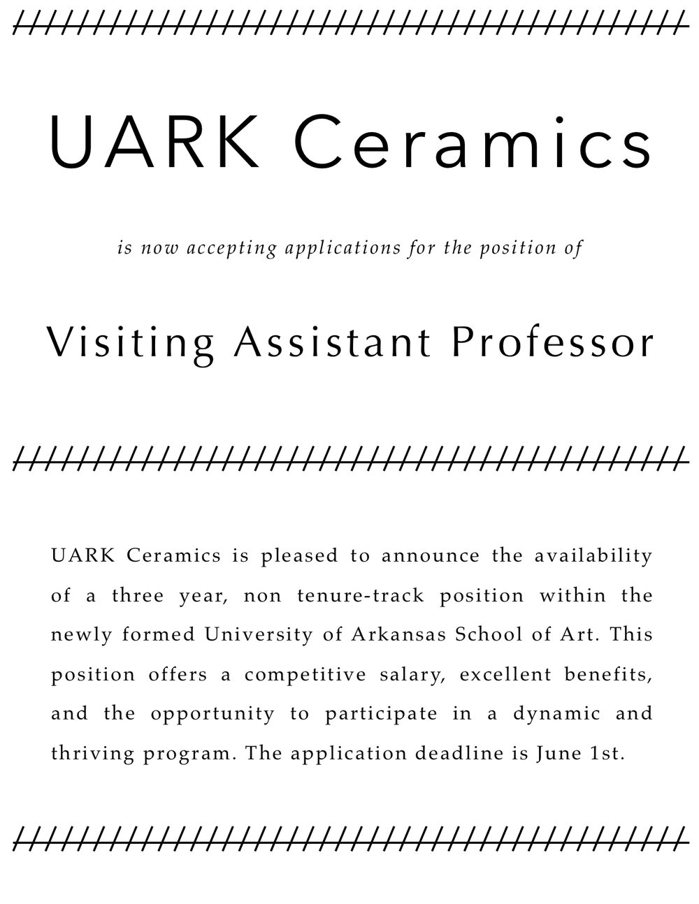 University of Arkansas Employment Opportunities | Visiting Assistant Professor 1