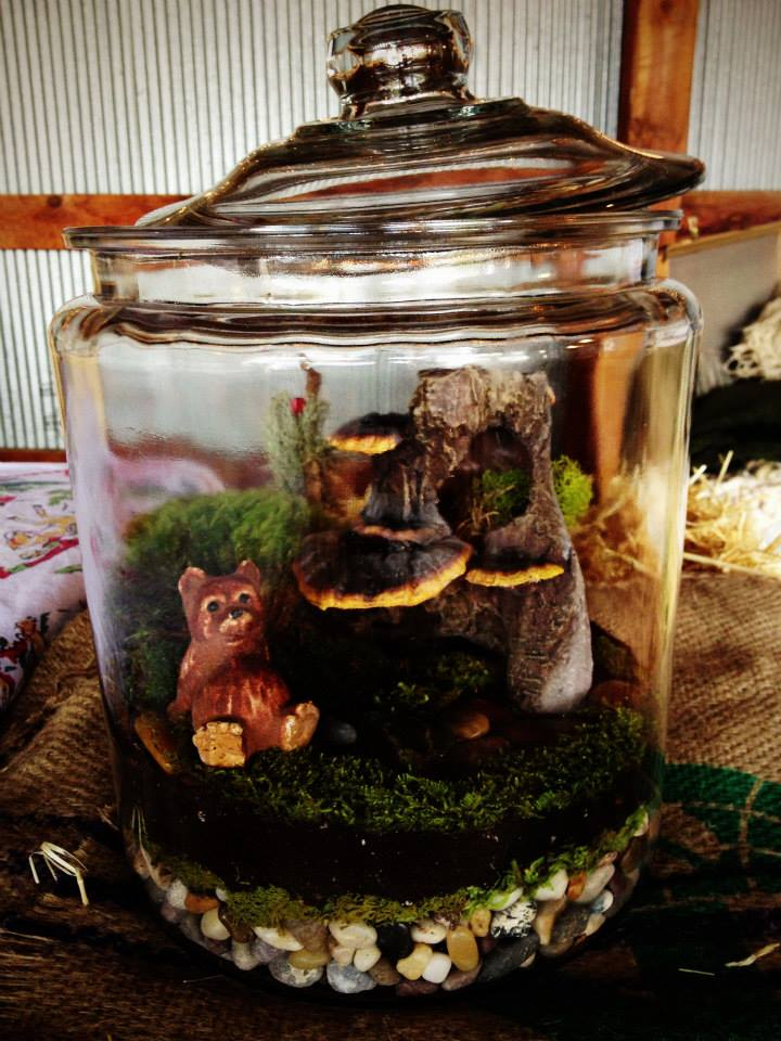 Make a lovely terrarium like this one.  You bring figurines and jar, we'll provide the rest!