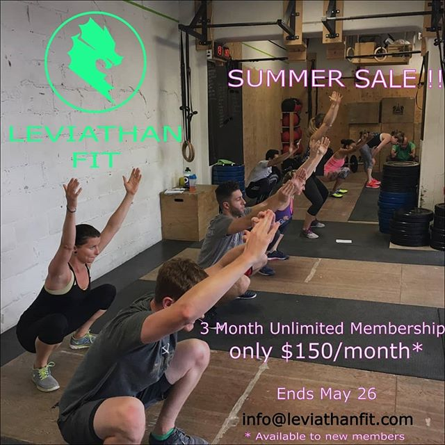 We're getting ready for summer with a sweet summer special - new members can get a 3 Month Unlimited Membership for only $150/month! 🎉  This offer only lasts until May 26! Shoot us an email - info@leviathan.fit - to take advantage any time this week 😎  Current members, refer a friend and you'll get 50% off your next month's membership dues 💪  New to training? You can get started next weekend with our weekend Foundations course 👨‍🎓👩‍🎓 which we'll offer for FREE if you add on the summer special! See you then 🏋️🏋️‍♀️