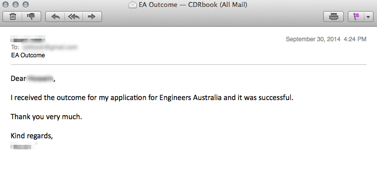 CDR Assessment Result engineering Australia 14