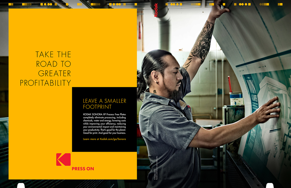 TAKE THE ROAD TO GREATER PROFITABILITY. LEAVE A SMALLER FOOTPRINT. KODAK SONORA XP Process Free Plates completely eliminate processing, including chemicals, water and energy, lowering costs while improving your efficiency, reducing your environmental impact and maintaining your productivity. That's good for the planet. Good for print. And good for your business. Learn more at Kodak.com/go/Sonora