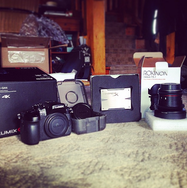 The GH4, Metabones Speedbooster, Rokinon Cine DS 14mm, and a new SSD for the Ninja Blade.