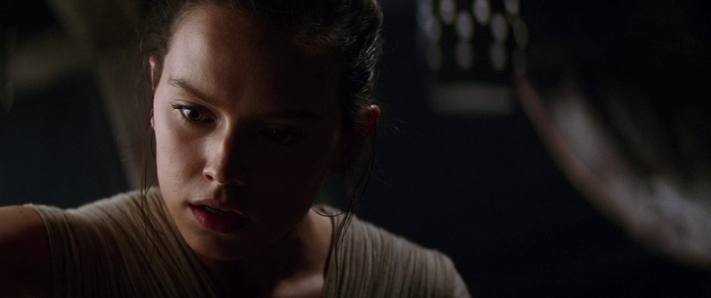 Shallow depth of field here on Rey - her right arm is slightly soft, face in focus, left ear and left arm start to fall out of focus and it's nice and creamy behind her.