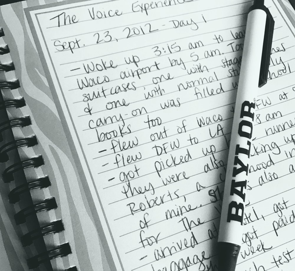 I kept a daily journal of my The Voice experience!