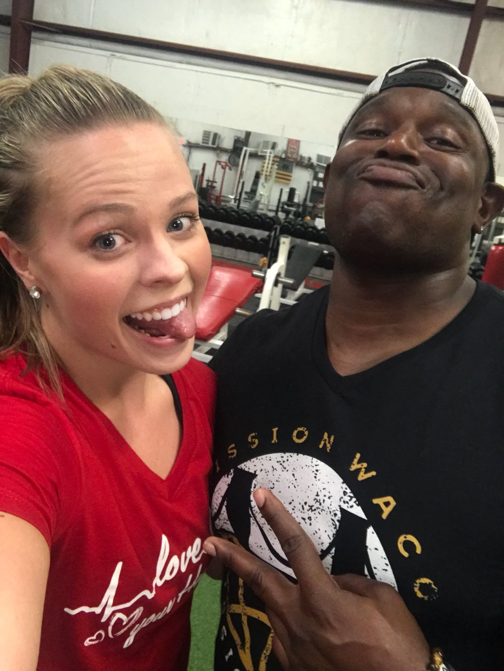 Meet my current fitness trainer, Mr. Kenneth Ford of HighPower Fitness.  Do not let this face fool you.  He's a tough one, y'all.