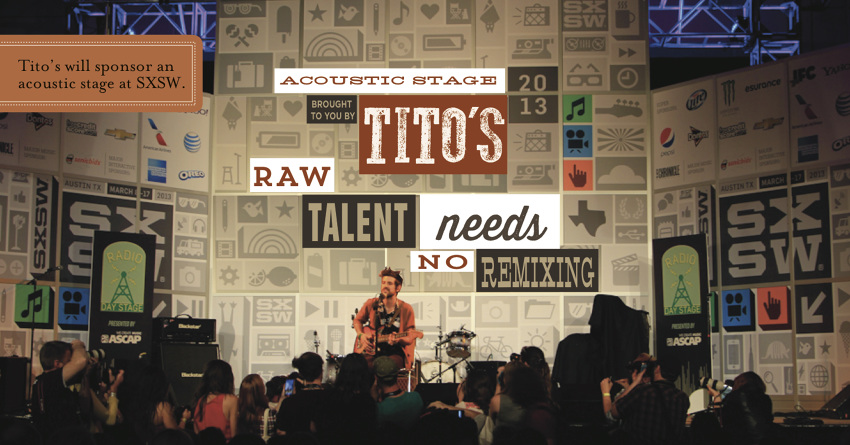 Tito's Vodka will sponsor an acoustic stage at its hometown festival SXSW
