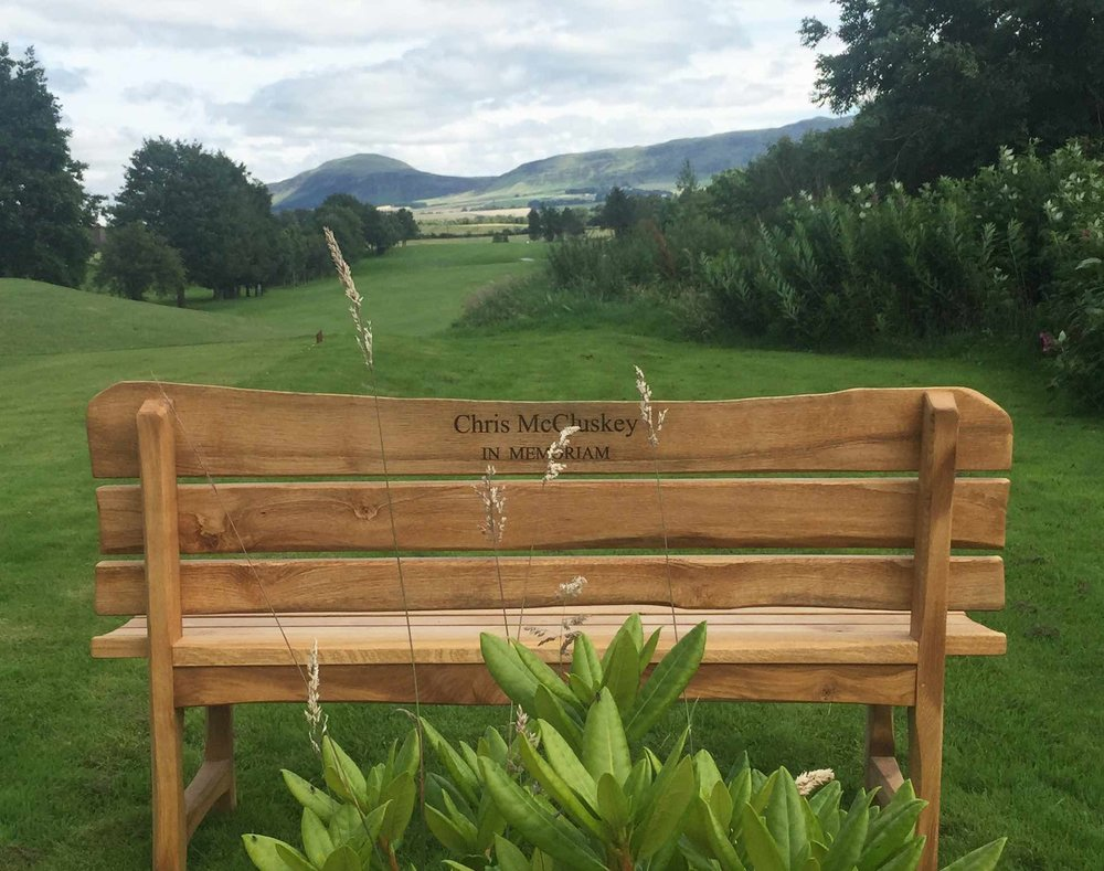 Chris McCluskey, In Memoriam - The Bench - 6th Hole - Milnathort Golf Club, Scotland
