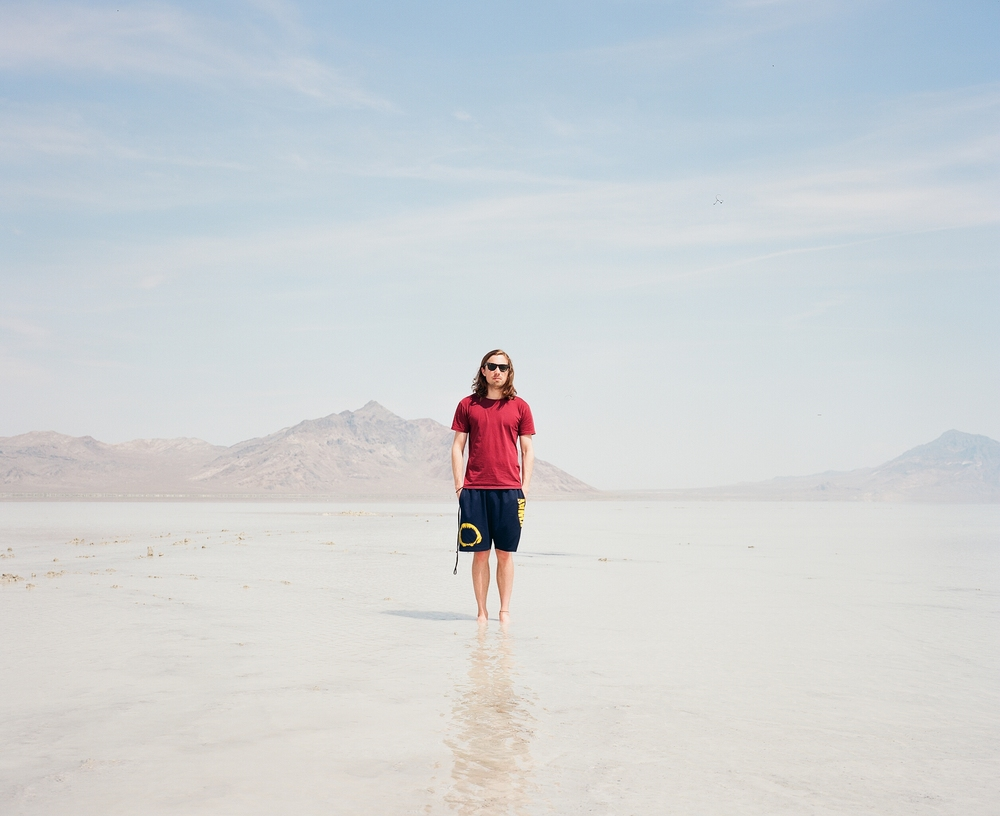 A photo of me taken by mate friend Ross on my Mamiya 7 while visiting Bonneville Salt Flats in Utah last year.