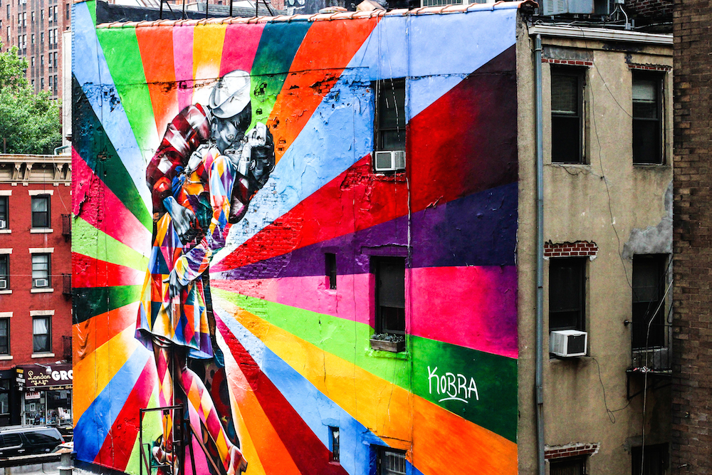 View of an amazing mural from the Highline