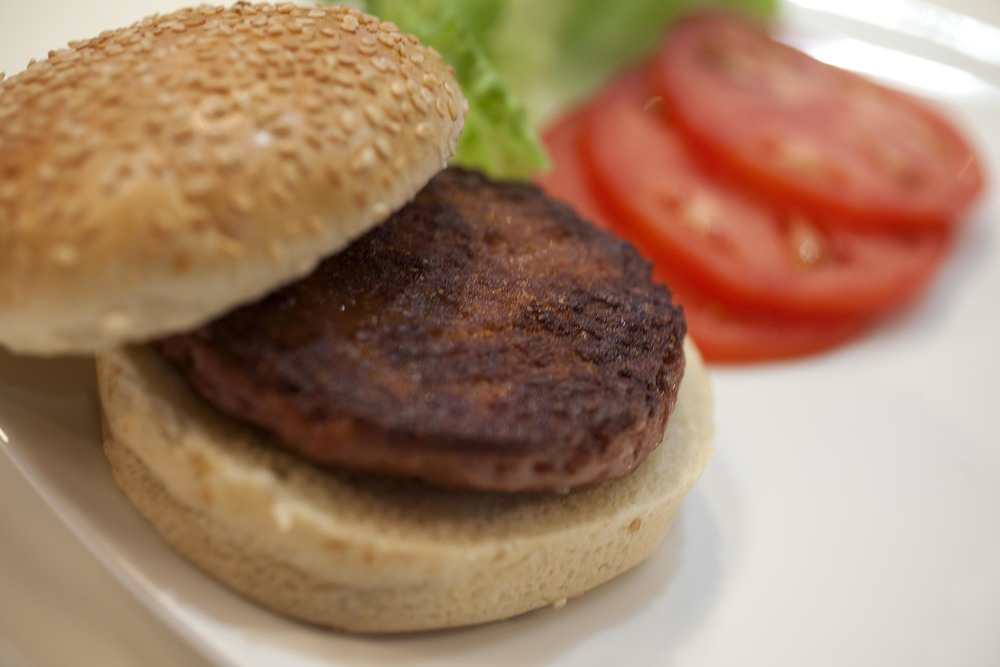 A cooked burger made from Cultured Beef. Credit: David Parry / PA Wire.Credit: Source: Cultured Beef, University of Maastricht