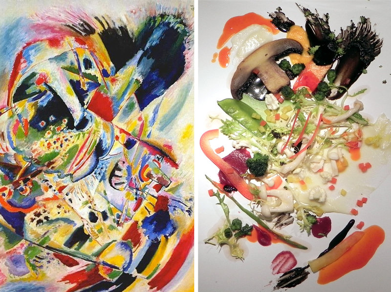 Vasily Kandinsky, Painting No. 201 (left)  and an art-inspired presentation by Crossmodal Research Laboratory (right). Kandinsky's painting was the inspiration for the salad on the right.