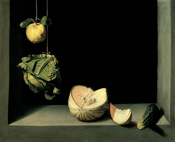 Quince, Cabbage, Melon, and Cucumber. Oil on canvas by Juan Sánchez Cotán, c. 1602.