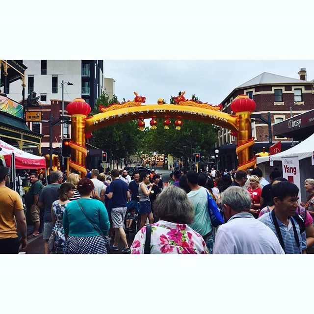 And they say nothing ever happens in Perth. This was our back yard this afternoon. #FringeFestPerth #ChineseNewYear