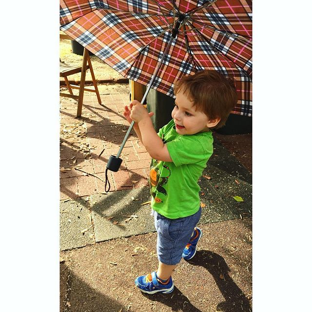 Getting our stroll on in the rain. #PJAmpersand