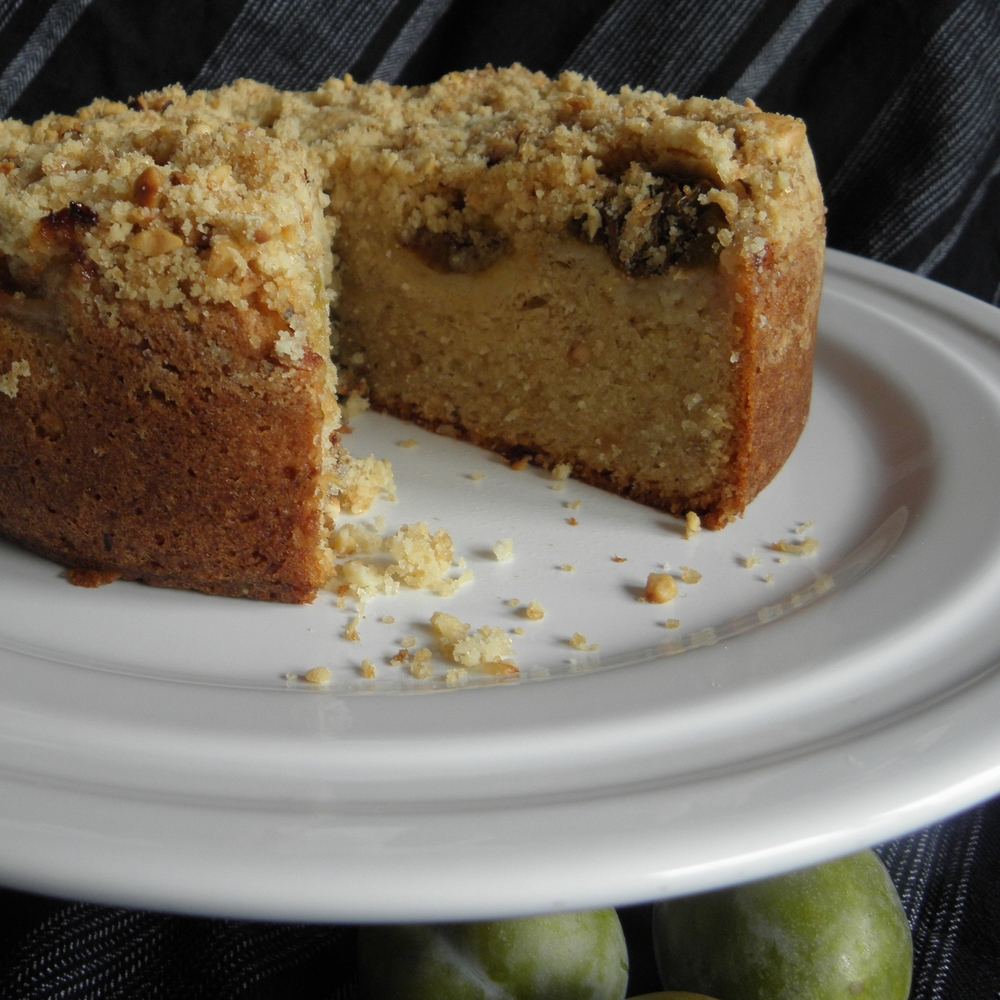 Hazelnut and greengage crumble cake