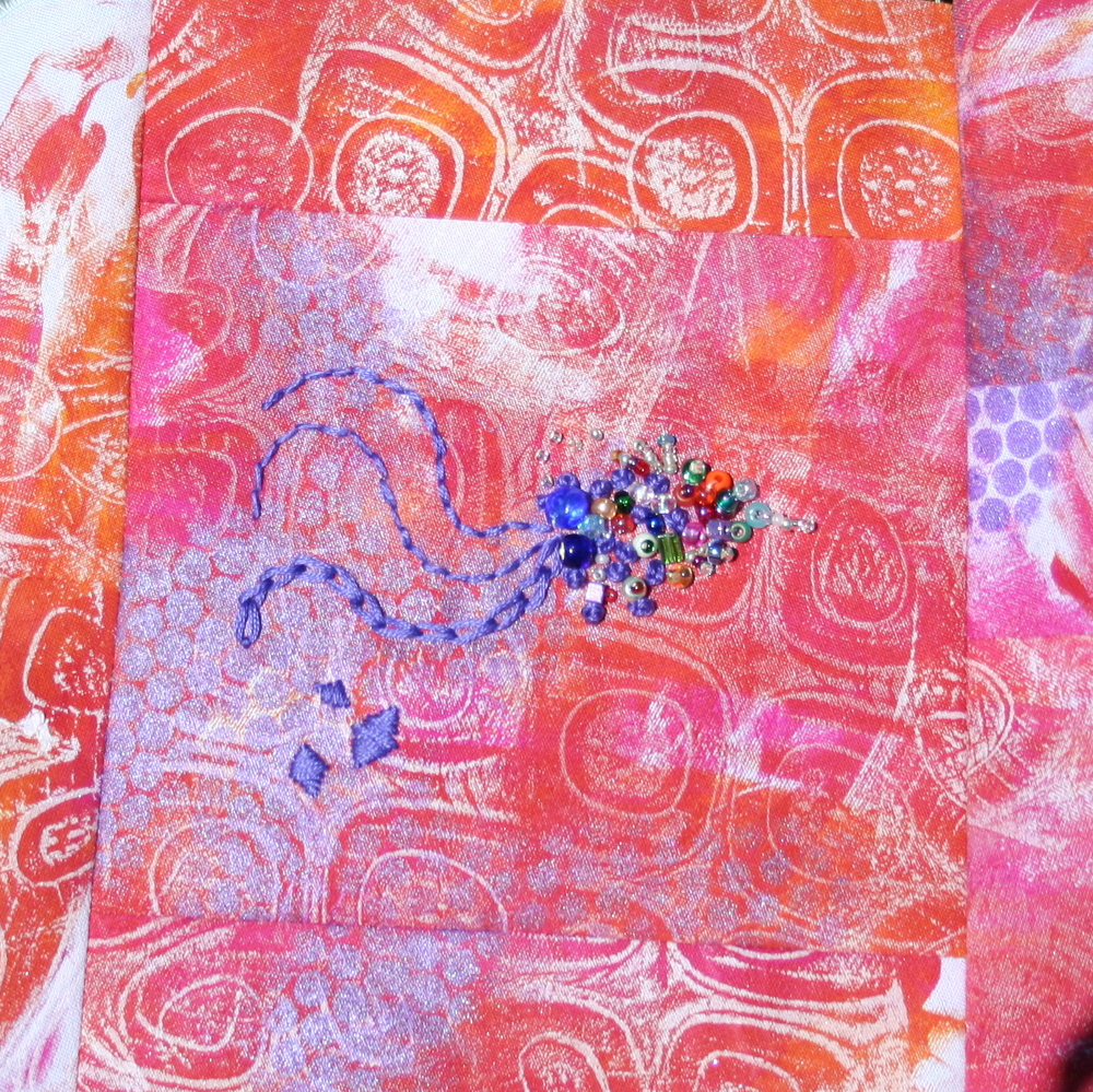 Student Work- Monoprinting, Stamping and Surface Design, Hand Embroidery and Beading