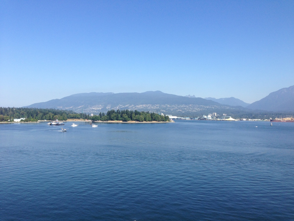 A view of West Vancouver from the shore of Vancouver, Stanley Park.