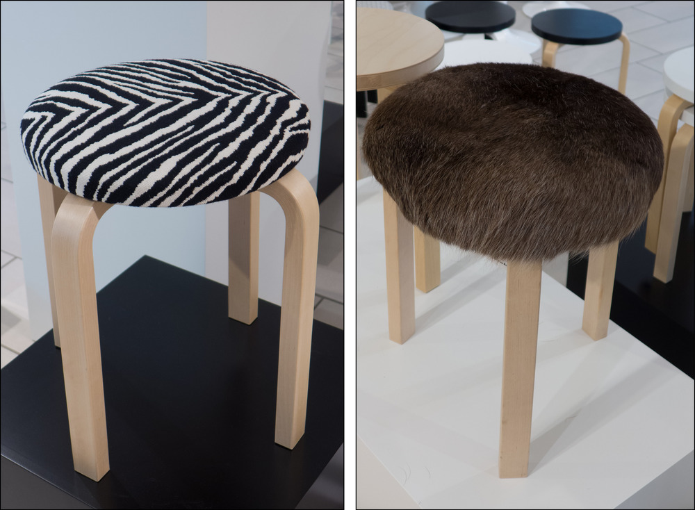 Stool E60 designed by Alvar Aalto - two versions of the four-legged stool photographed in the Helsinki store