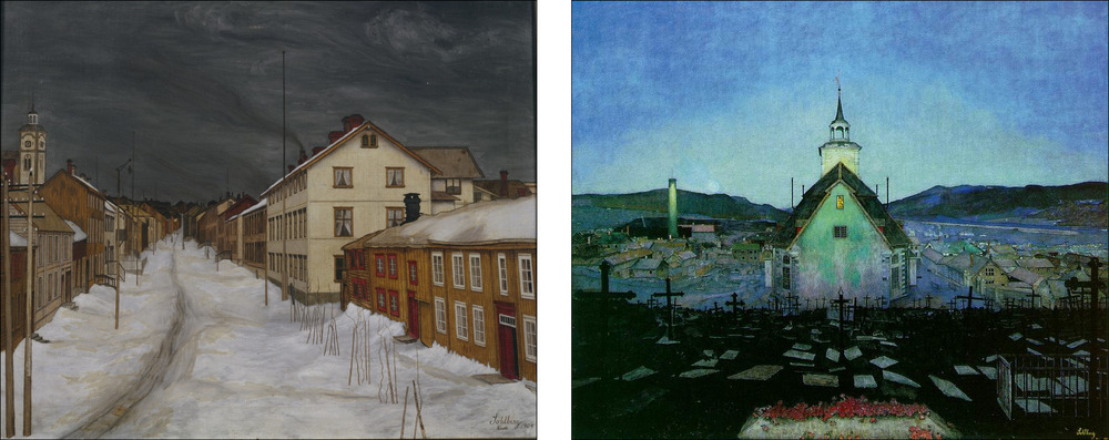 Storgaten in Røros with the low grey light of snow clouds painted in 1903 by the Norwegian artist Harald Sohlberg (1869-1935) and a night scene by the same artist. (Images from Wikipedia)