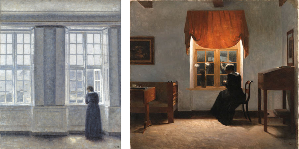 An interior with tall windows painted in 1913 by the Copenhagen artist Vilhelm Hammershøi (1814-1916). The painting is now in the Ordrupgaard Museum north of Copenhagen.  An interior in evening light with a woman knitting was painted by Peter Ilsted (1861-1933). He was Hammershøi's brother-in-law. (Images from Wikipedia)
