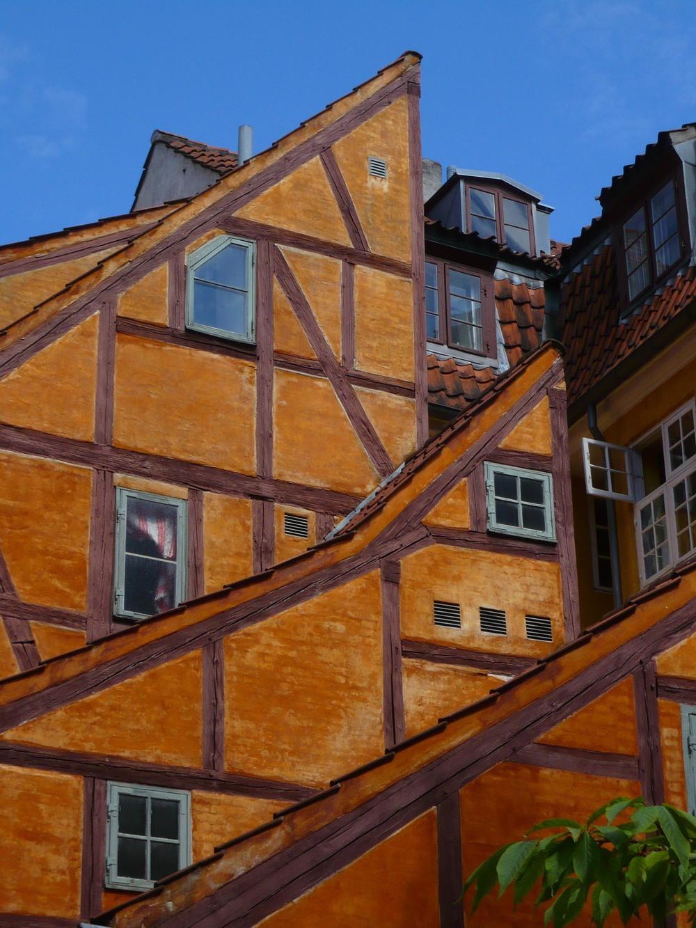 Timber-framed buildings in a courtyard in Copenhagen