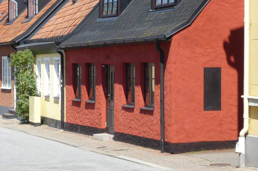 A row of small house in Ystad in Sweden