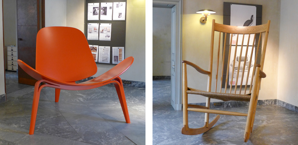 Over-sized chairs in the entrance hall - a version of the Shell Chair designed by Wegner in 1963 and the J16 Rocking Chair that has been in production since 1944.