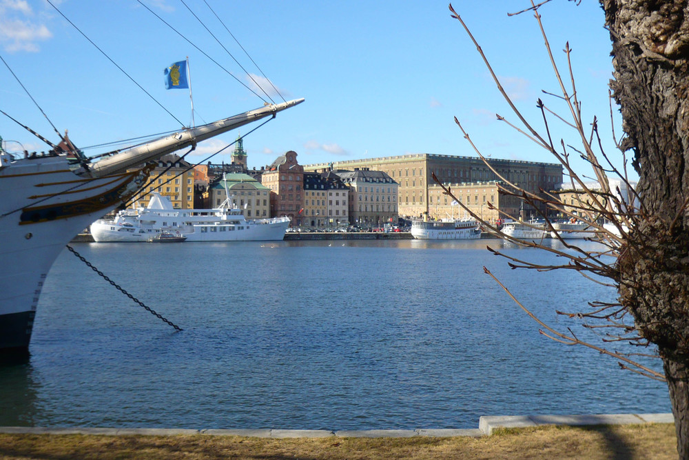 Looking across to the royal palace and Gamla Stan from the quay by the af Chapman