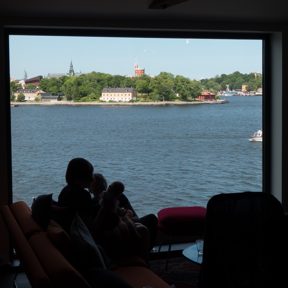 Kastellet across the harbour from the cafe of Fotografiska