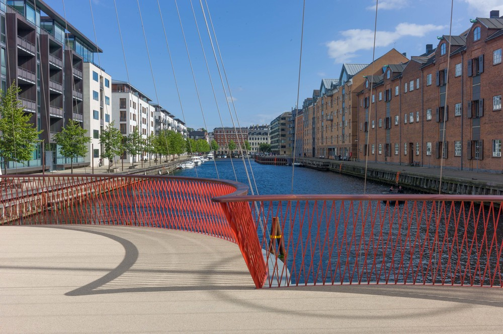 Apartment buildings on either side of the Christianshavn canal, those on the left built on the site of shipyards