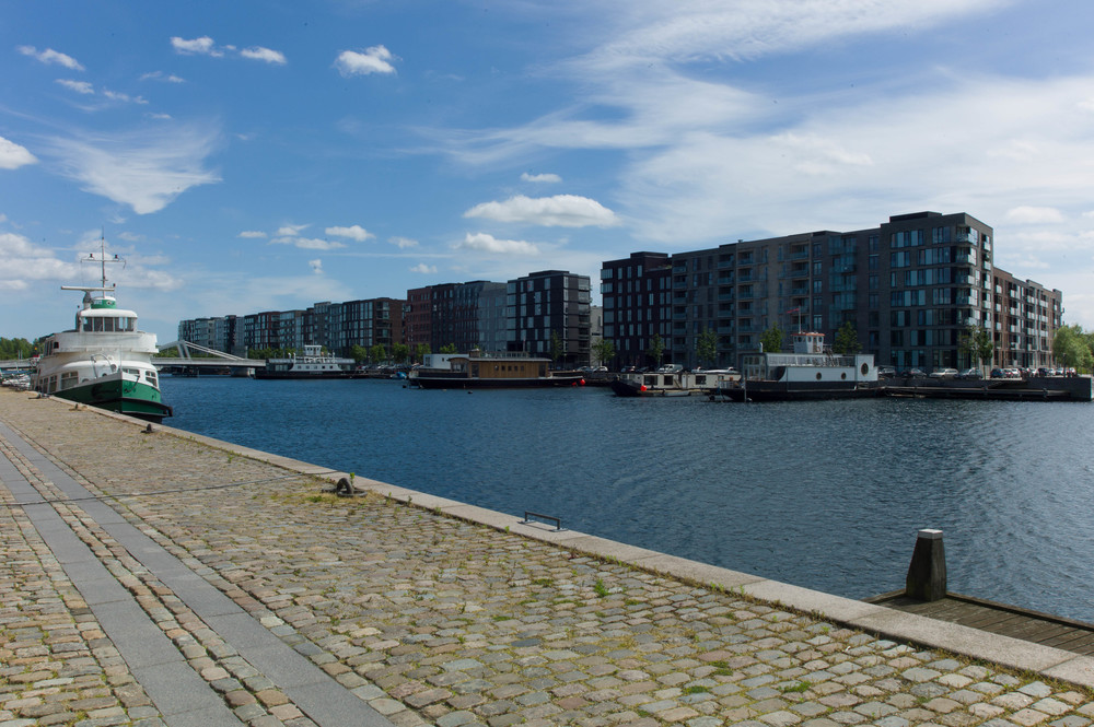 View of the new apartments at the south end of the inner harbour at Sluseholmen from the Teglholmen side