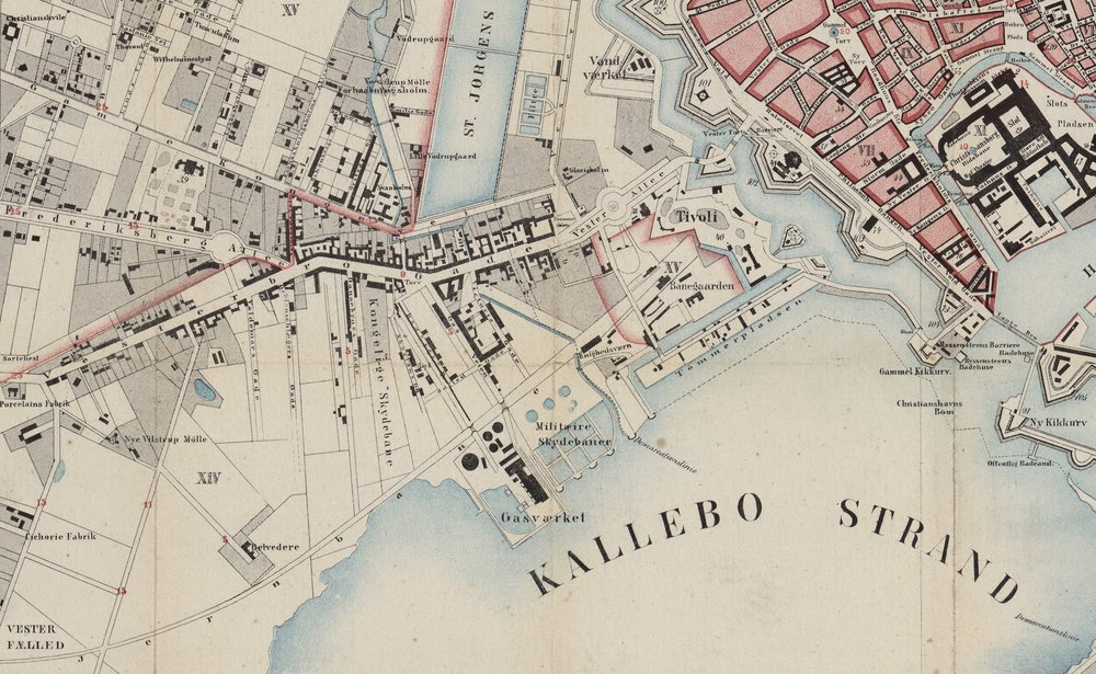 Vesterbro and the bay in 1860