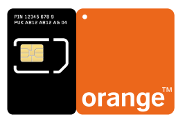 The SIM card producer Morpho's pre perforated SIM-card with a orange reflective area.