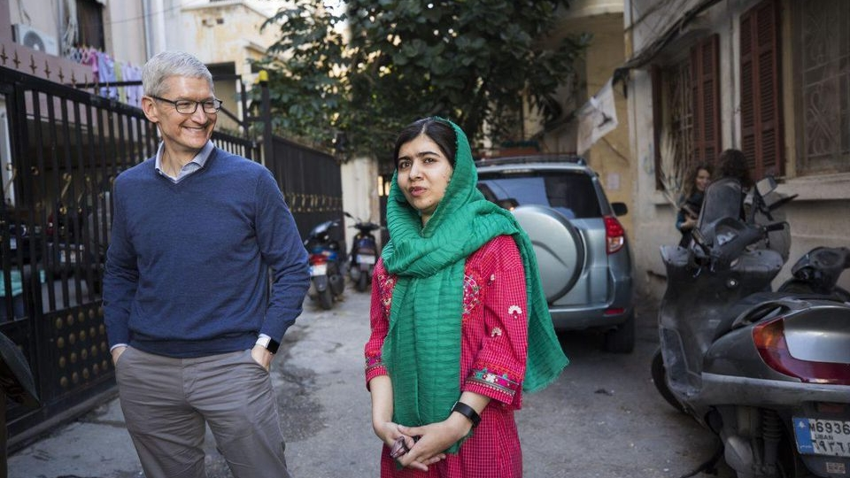 Apple CEO Tim Cook and Malala Yousafzai visit with Lebanese and Syrian students in Beirut.