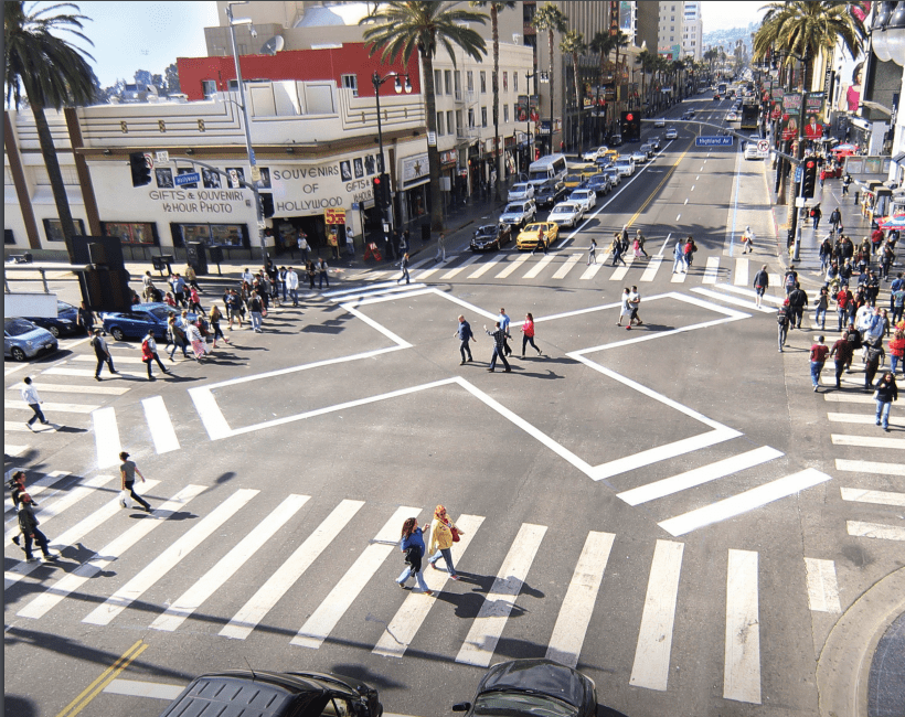 The scramble crosswalk at Hollywood Blvd and Highland in Los Angeles. Photograph: LADOT