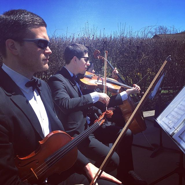 First outdoor wedding of season! #springwedding #marylandweddings #stringquartet #tworiverschambermusic