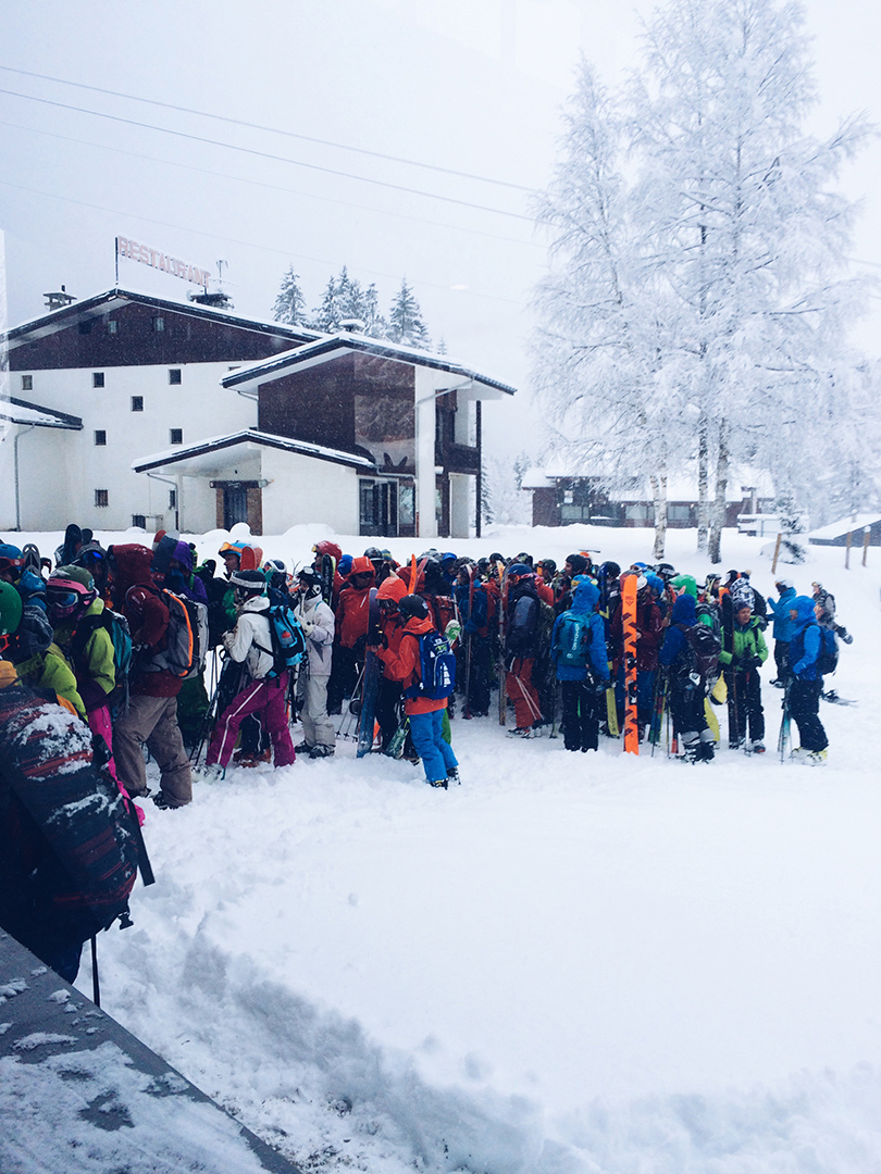 Line up at Grand Montets Chamonix