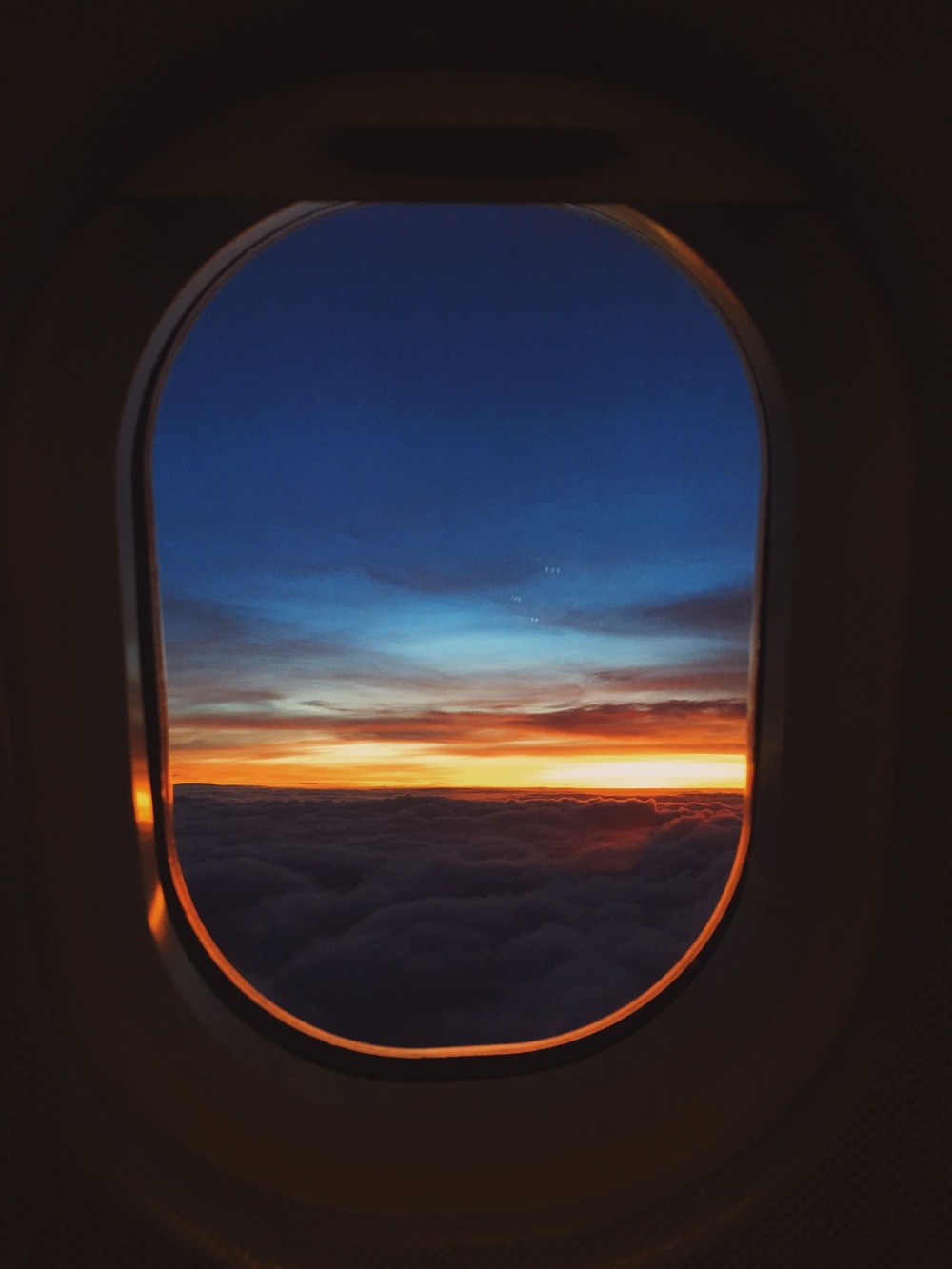 lufthansa flight sunset