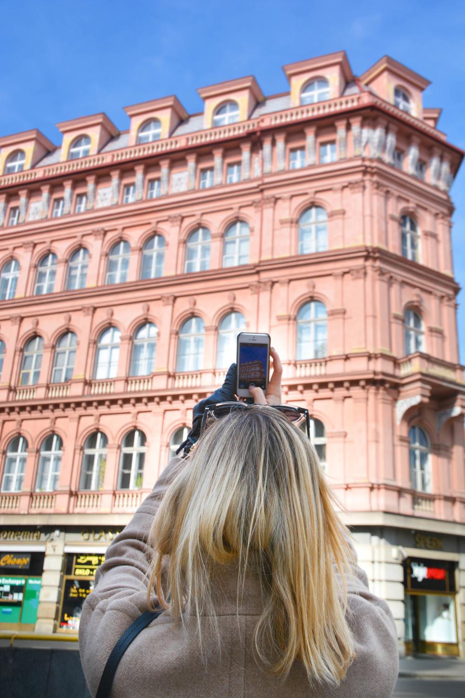 Prague architecture pink building