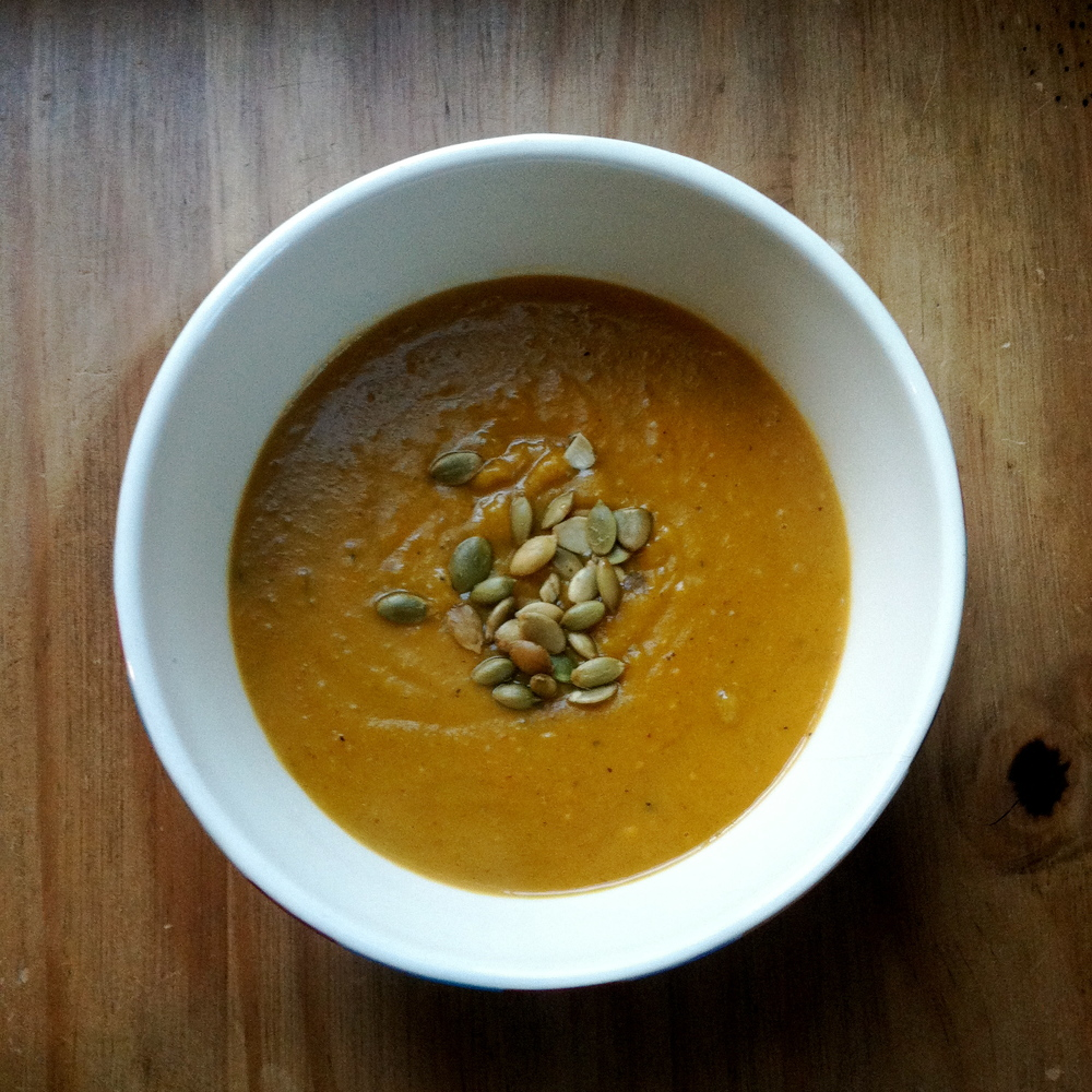 Coconut curry sweet potato soup, sprinkled with roasted-salted pumpkin seeds. (November 2013, photo by Zach Gross)