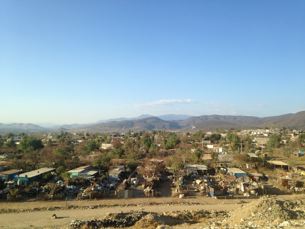 A view of the dump community in Oaxaca, from atop a trash pile