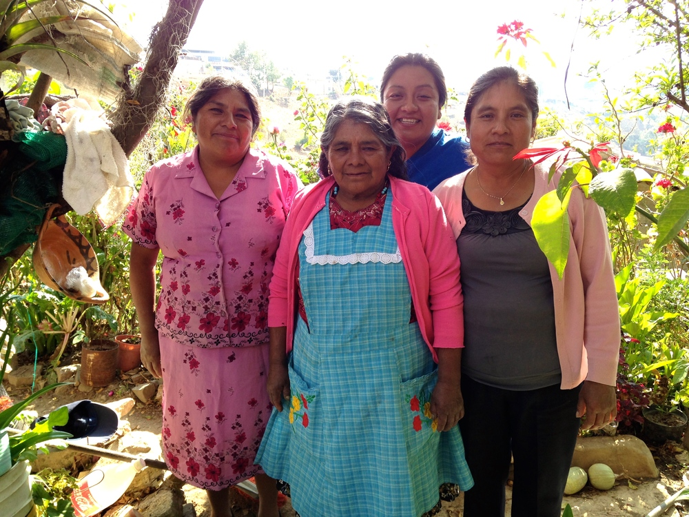My friend Gaby (in blue), her mother, grandmother and cousin in their village of  Santa Ana Yareni