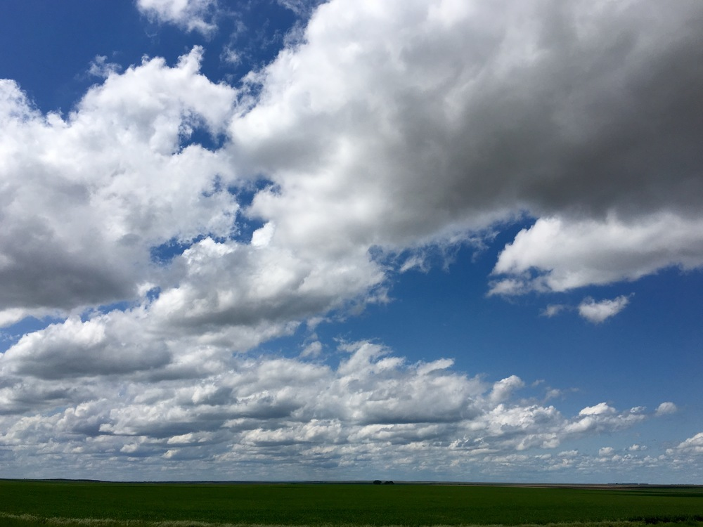 Big cloud country: Huge clouds over the South Dakota Plains. (A.Gross, May 2016)